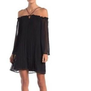 NWT: Black Off the Shoulder Pleated Dress. Size 10